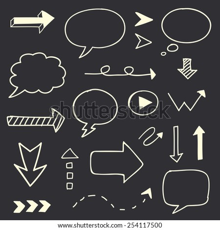 Hand drawn arrows speech bubble sketch set - stock vector