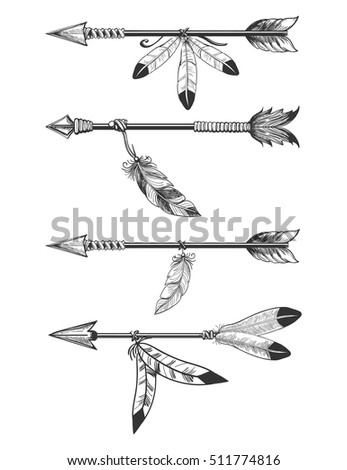 Hand Drawn Arrows Feathers Beads Boho Stock Vector