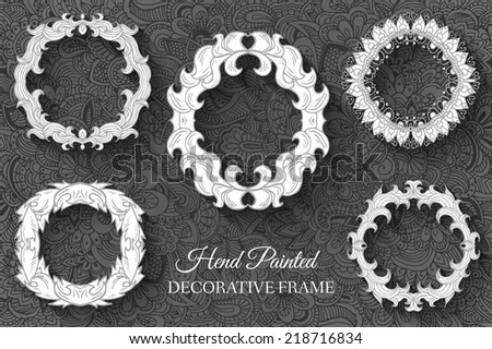 Hand drawn art abstract background decorative hand painted frames set concept. Vector retro banner of card or invitation design. Vintage traditional, Islam, arabic, indian, ottoman motifs, elements   - stock vector