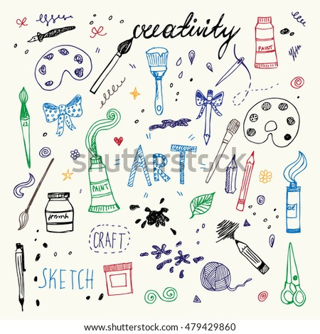 Hand drawn Art and Craft vector symbols and objects