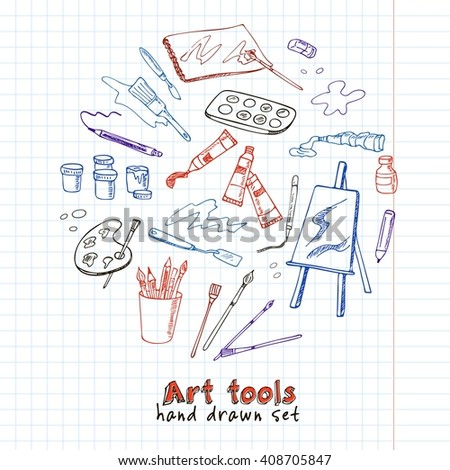 Hand drawn art tools set.