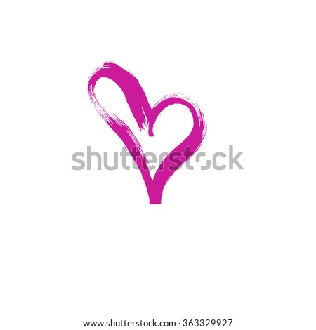 Hand drawn art vector heart. Ink calligraphy. Card valentines day