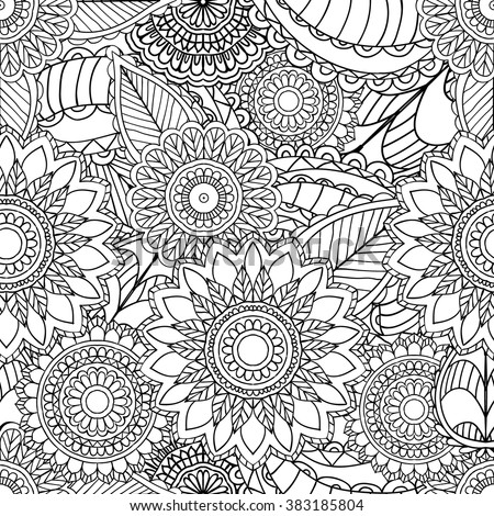 Hand drawn artistic ethnic ornamental seamless patterned floral frame in doodle, zentangle style for adult coloring pages, t-shirt or prints. Vector spring illustration.seamless pattern - stock vector
