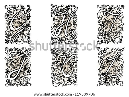 Hand Drawn Artistic Vector Fairytale Letters G H I