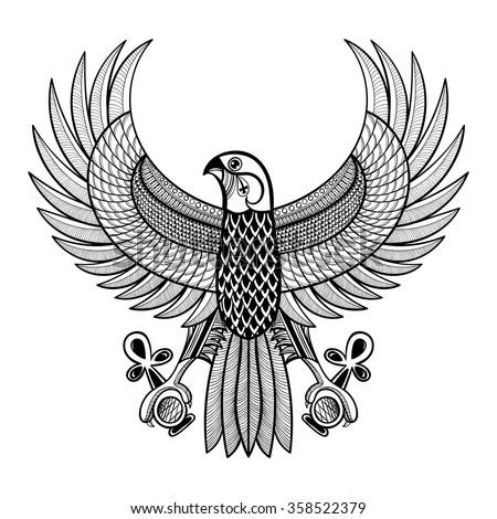 Hand Drawn Artistically Egypt Horus Falcon Stock Vector Royalty