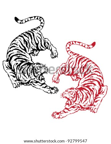 Hand drawn asian tigers - stock vector