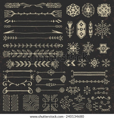 Hand drawn assorted design elements set 1 on dark. Vector illustration. - stock vector