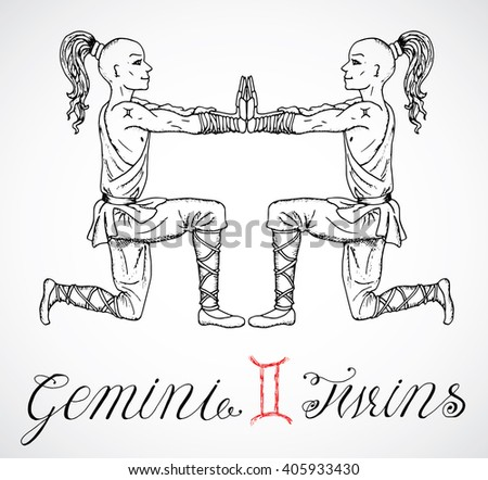 Hand drawn astrological zodiac sign Twins or Gemini. Line art vector illustration of engraved horoscope symbol. Two Shaolin monks or warriors. Doodle drawing and sketch with calligraphic lettering - stock vector