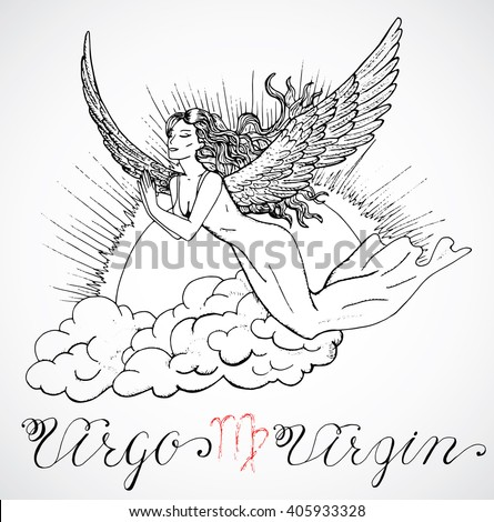 Hand drawn astrological zodiac sign Virgin or Virgo. Line art vector illustration of engraved horoscope symbol. Flying girl or angel in sky. Doodle drawing and sketch with calligraphic lettering - stock vector