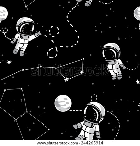 hand drawn astronauts with constellations and planets in spa?e, starry background, cosmic seamless pattern, vector illustration - stock vector