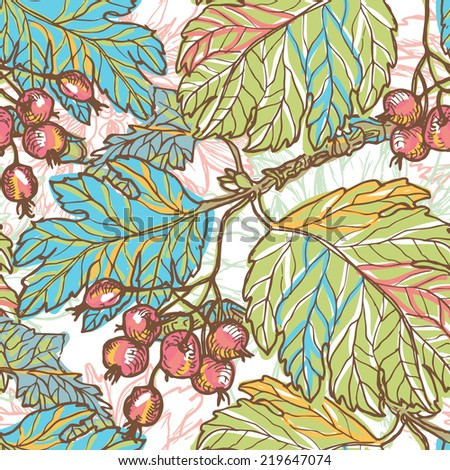 Hand drawn autumn berries retro seamless pattern.  All objects are conveniently grouped  and are easily editable. - stock vector