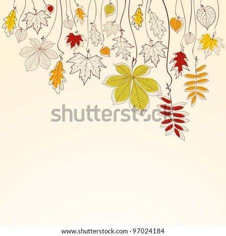 Hand drawn autumn falling leaves background - stock vector