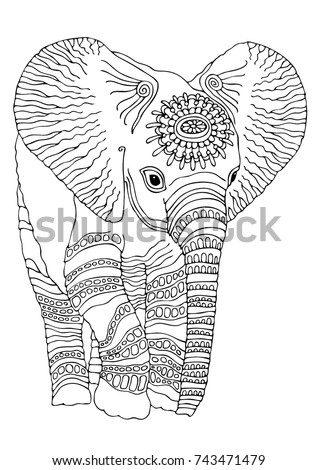 hand drawn baby elephant sketch antistress stock vector 743471479