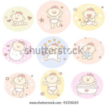 Hand drawn baby girl collection