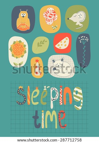 Hand-drawn baby illustration from children's pictures and letters. Scrapbooking. It can be used as a seamless pattern, wrapping paper, wallpaper in baby room, kids invitation, background. - stock vector