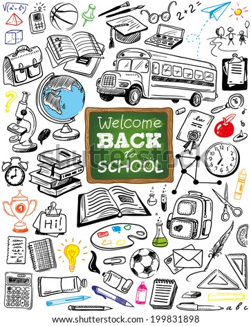 hand-drawn back to school doodles collection - stock vector