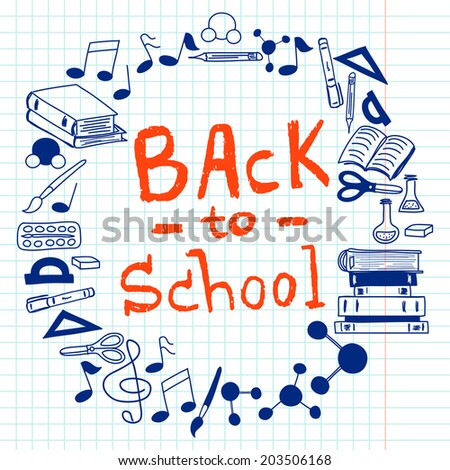 Hand drawn back to school doodles with school stationary. Frame for the text made of design elements on squared notebook paper background. - stock vector