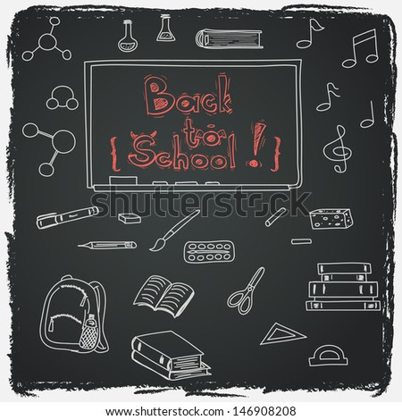 Hand drawn back to school doodles with school utensils. Design elements on chalkboard background. Sketched chalkboard, notes, books, paint, pencil, molecules. - stock vector