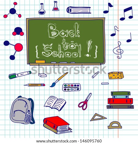Hand drawn back to school doodles with school utensils. Design elements on squared notebook paper. Sketched chalkboard, notes, books, paint, pencil, molecules. - stock vector