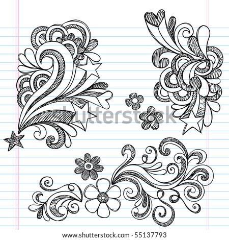 Hand-Drawn Back to School Hearts, Swirls, Flowers, and Stars Sketchy Notebook Doodles Vector Illustration Design Elements on Lined Sketchbook Paper Background - stock vector