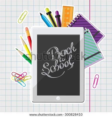 Hand drawn back to school lettering illustration with set of  supplies and computer tablet