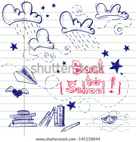 Hand drawn back to school sketch. Notebook doodles with lettering, paper boat, paper plane, clouds, stars, hearts and books. Vector Illustration. Design elements on lined notebook paper. Background. - stock vector