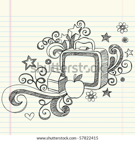 Hand-Drawn Back to School Sketchy Notebook Doodles of a Lunchbox, Milk Box & Apple with Swirls, Hearts, and Stars- Vector Illustration Design Elements on Lined Sketchbook Paper Background - stock vector