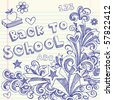 Hand-Drawn Back to School Sketchy Notebook Doodles with Lettering, Books, Shooting Stars, Hearts, and Swirls- Vector Illustration Design Elements on Lined Sketchbook Paper Background - stock vector