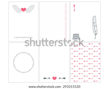 Hand drawn background for tags, labels, journaling cards, scrapbooking. Hearts, arrows, wreath, feather design elements.