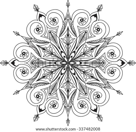 Hand drawn background. Mandala. Geometric circle element. - stock vector