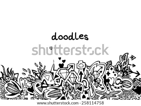 hand drawn background with colorful doodles - stock vector