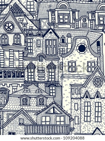 Hand-drawn background with old town - stock vector