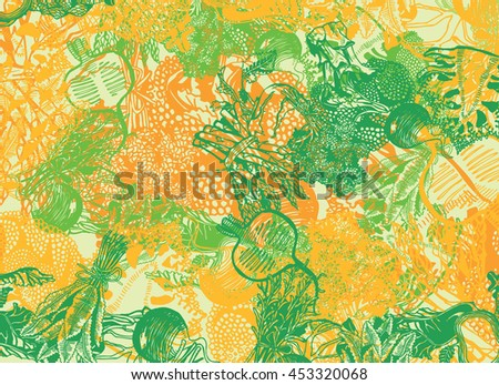 Hand-drawn Background with Vegetables. Organic Food theme. - stock vector
