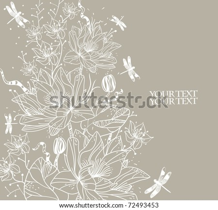 hand drawn background with waterlilies and water plants - stock vector