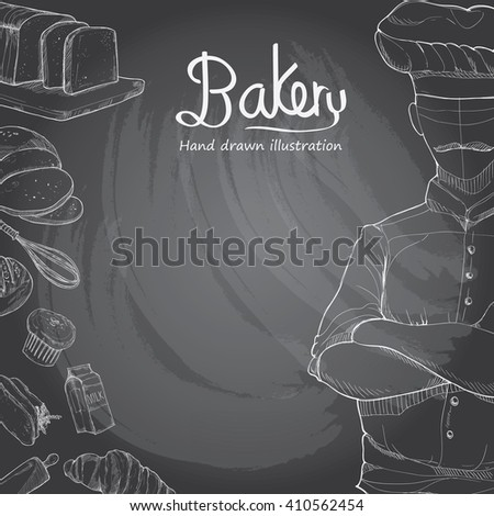 hand drawn bakery background.