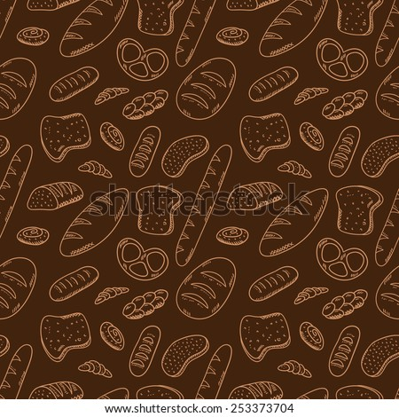 Hand drawn bakery on white background. Seamless pattern with bread. Bakery concept made in vector. Baguette, bun, croissant, bread and other bakery products. - stock vector