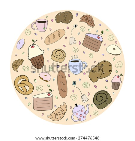 Hand drawn bakery products - stock vector