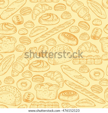 Hand drawn Bakery products and Sweet Pastries. Bread Seamless pattern. Vector illustration