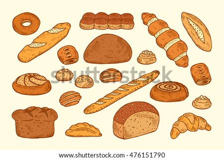 Hand drawn Bakery products and Sweet Pastries Vector Set. Bread, rolls, baguette, donut, pie, croissant