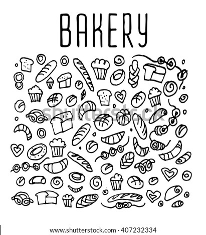 Hand drawn bakery seamless logo,  bakery doodles elements,  bakery seamless background. Bakery Vector sketchy illustration  - stock vector