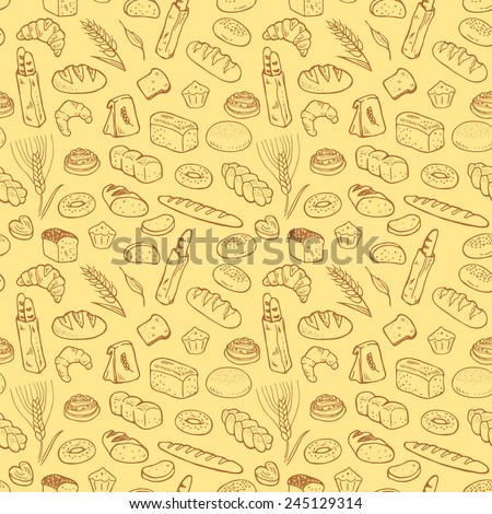 Hand drawn bakery seamless pattern background. - stock vector