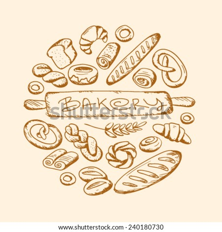 hand drawn bakery set in round frame - stock vector