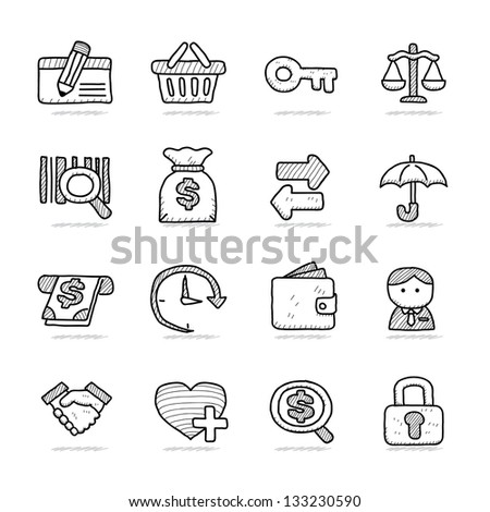 Hand drawn Banking &  Finance icon set
