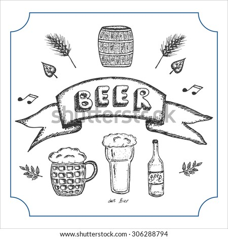 Hand drawn banner for beer bar with set of elements for beer advertising: beer glass, beer bottle, malts and leaves, beer barrel with beer. Vector illustration.