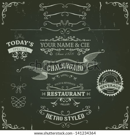 Hand Drawn Banners And Ribbons On Chalkboard/ Illustration of a set of hand drawn sketched banners, ribbons for food, restaurant and beverage design elements on chalkboard background - stock vector