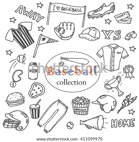 Hand-drawn baseball doodles set. The collection of different line art baseball icons: flags, baseball equipment, clothes, balls, boots, fast food etc. Line art sport illustrations. Baseball icons. - stock vector