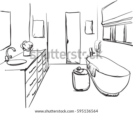 bathroom sketch stock images, royalty-free images & vectors