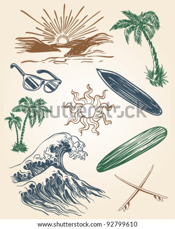 Hand drawn beach and surf illustration set - stock vector
