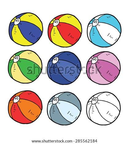 hand drawn beach ball - stock vector