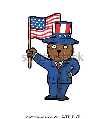 hand drawn bear waving USA flag